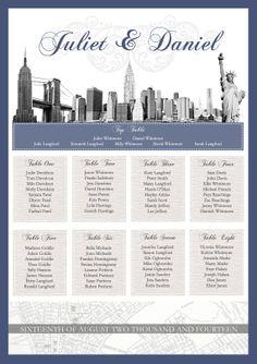 Elegant New York Theme Wedding Seating Plan on Etsy, £75.00