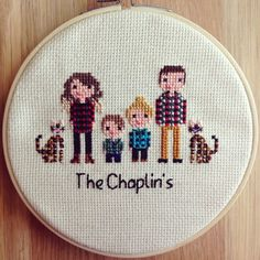 THIS LISTING IS FOR A SIX PERSON/PET ✃Two small animals (under 25 lbs) = 1 person ✃Babies under 3 months are FREE Find other portrait options here: https://www.etsy.com/shop/NoBasicStitches?section_id=18250841 ➵Custom family portrait cross stitch! One of a kind and made to fit your personality. Each portrait is carefully made with love and care in every stitch. From the pattern making to the finished stitch, each piece takes around 8-30 hours to create, depending on size. Stitched with…