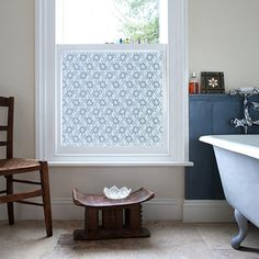 love this pretty window film to cover the bathroom window for privacy