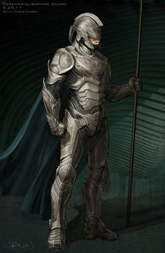 """Costume illustration for """"Kyrptonian Saphire Guard"""" by Keith Christensen, from 'Man of Steel' 2013. Costume design by James Acheson and Michael Wilkinson."""