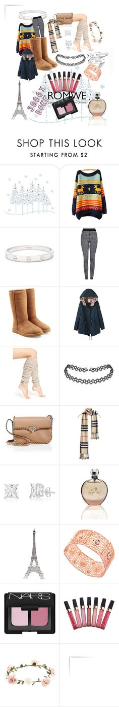 """I love Winnter"" by brikena-kena ❤ liked on Polyvore featuring Cartier, Topshop, UGG Australia, Lemon, Valentino, JLo by Jennifer Lopez, Merci Gustave!, 1928, NARS Cosmetics and Accessorize"