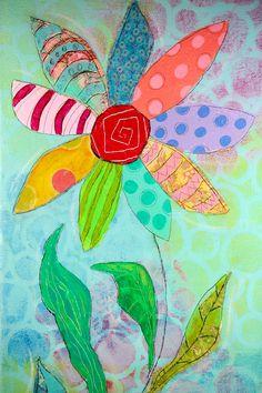 Original Flower Artwork Collage Painting on by ArtByAlisaSteady