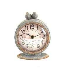 Pewter Mantle Grey Clock With Bird