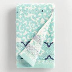 One of my favorite discoveries at WorldMarket.com: Aqua Mist Aurora Jacquard Hand Towel
