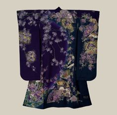 Yuzen-dyed Furisode. Created about the year 2000, Japan.  The Kimono Gallery, A large rinzu silk furisode featuring yuzen-dyed (resist-painted) 'oshidori' (mandarin duck) on a stream, and classical designs such as fans, 'ume'(plum blossoms) and 'botan'(peony).
