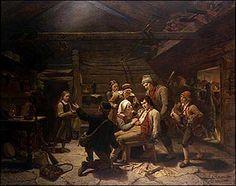 Adolph Tidemand - Den sårede bjørnejeger. 1856. jpg (390×308) National Museum, Folklore, Painters, Art Museum, Denmark, Norway, Scandinavian, 18th, Mandala