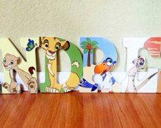 Lion King letter art. Hand painted wood letters. Kids room/nursery decor.
