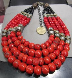 MASHA ARCHER 4 STRAND OVAL COLLAR OF FLAME RED AND DEEP RED STAINED CORAL   eBay