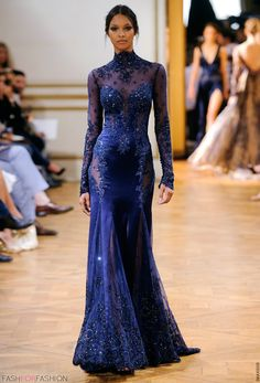 Royal blue gown with sheer lace details by fashion designer Zuhair Murad