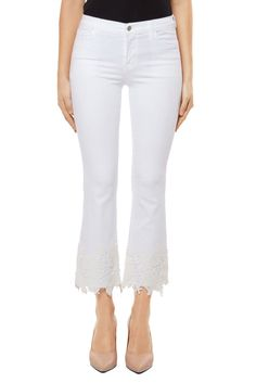 Browse our Selena mid-rise, cropped boot cut with white lace at the hems featuring a pattern exclusive to J Brand in our iconic Photo Ready fabric. Denim Branding, Lace Embroidery, J Brand, White Lace, Nordstrom, Selena, Jeans, Shopping, Clothes