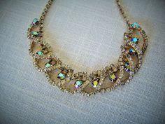 RHINESTONE CHOKER NECKLACE  Aurora Borealis Gold Tone Collectible Vintage Costume Jewelry on Etsy $37.99 by pegi16