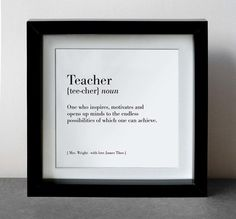 Treat your lovely Teacher for their end of teaching year to this Dictionary Framed Print, as part of Pip & Doodle's Teacher range. Personalised with name of Teacher and Child. Printed on to premium matt paper. Size - 23 x Framed in White or B. Teacher Cards, Your Teacher, Ribba Frame, New Print, Happy People, Stuff To Do, Diy And Crafts, Doodles, Framed Prints