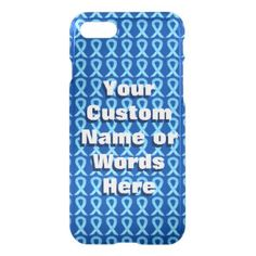 Blue Awareness Ribbon Art Custom Name iPhone Case
