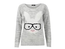Womens Long Sleeves Geek Rabbit Bunny Print Motif Knitted Jumper http://best4bunny.com/wp/productcat/bunny-related-items/