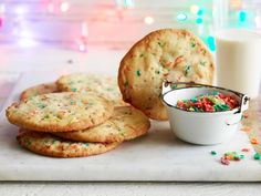 Sunny's Cereal Confetti Cookies : Sunny uses multicolored puffed rice cereal (she likes Fruity Pebbles!) to make these festive treats. They'll spread nicely in the oven (so be sure to space them well apart), resulting in a crisp-on-the-outside and chewy-on-the-inside dessert.