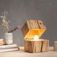 massive Blockleuchte aus Altholz / Braun 47345 solid block light from old wood / brown 47345 Driftwood Lamp, Wood Lamps, Old Wood, Rustic Wood, Home Crafts, Diy And Crafts, Deco Cool, Lampe Led, Branch Decor