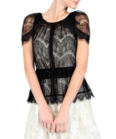 Black Lace Peplum Cardigan