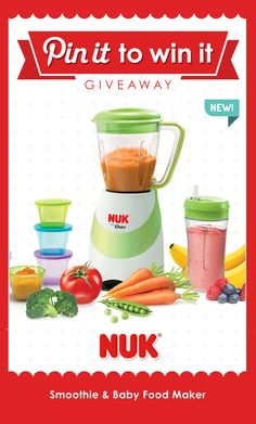 Make your own #natural #babyfood with this easy, one-touch blending action baby food maker. You can even attach a 12-oz #sippycup right to the #blender! #NUK #babyfood #babyshower #babyregistry #smoothie #mealtime