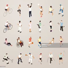 Vector Art : Sports and Fitness People - Flat Icons Illustration