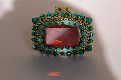 Beaded Ring Tutorial Vintage Style Ring by SidoniasBeads on Etsy