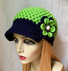 Seattle Seahawks Lime Green, Blue Womens Crochet Hat, Sports Team, Christmas gifts, Birthdays Gifts for Her Crochet Cap, Crochet Baby Hats, Crochet Clothes, Hand Crochet, Crocheted Hats, Crochet Girls Dress Pattern, Crochet Hat For Women, Crochet Toilet Roll Cover, Chemo Caps Pattern