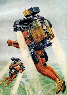 Jetpack jet pack rocket rocketman thrusters suit retro futurism back to the future tomorrow tomorrowland space planet age sci-fi pulp flying train airship steampunk dieselpunk Affiche Star Trek, World Of Tomorrow, Tomorrow Land, Vintage Space, Retro Vintage, Futuristic Technology, Futuristic Vehicles, Technology Gadgets, Science Fiction Art