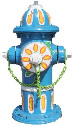 """Artist Sofy Bertioli painted this hydrant, """"Flores de Brasilia"""", for Athens, GA's Fire Up the Hydrants, a celebration of the value of water. Visit www.thinkatthesink.com to learn more."""