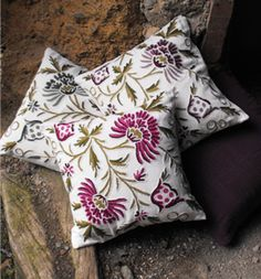 Crewel work wool embroidery cushion covers, hand made in Kashmir for Chandni Chowk.
