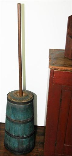 "Blue Butter Churn, New England, Ca. Early 19th Century, Pine in excellent original condition, including paint, lid and dasher staff. 48"" high x 11"" diameter (base).   $ 675.00"