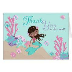 African Mermaid Thank You Card