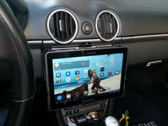 Quick ipad removable car mount  http://www.instructables.com/id/Tablet-iPad-removable-car-mount-for-1-in-5-minu/