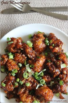Indo-Chinese Cauliflower Manchurian. I might be able to make this, and I know someone who would like it!