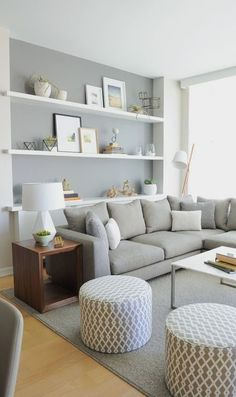 Living in an apartment, or in an older home with tiny rooms, can present a challenge: how to make your limited space seem larger. Try these 80 Stunning Modern Apartment Living Room Decor Ideas And Remodel. Small Living Rooms, Home And Living, Cozy Living, Living Area, Simple Living, Small Living Room Layout, Living Room Grey, Grey Room, Living Room Wall Ideas