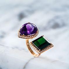 L/DANA - Anel Beat #ldana #despertar #jewelry #design #ldanaofficial #diamonds #amethyst #greentourmaline #tourmaline