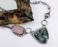 Silver Ocean Jasper and Pink Quartz Necklace by madstarsilver, $113.06