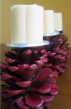 candelabro de piñas de pino