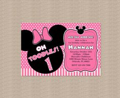Pink Minnie Mouse Birthday Party Invitation 2 Por Honeyprint Decorations Theme