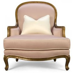 Dusty pink upholstery. Bergere chair