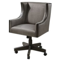 Очень удобное и стильное офисное кресло с мягким и удобным сиденьем. Сиденье опирается на удобную ножку на колесиках, которая позволяет регулировать высоту от 52 до 65 см.             Метки: Кресла для дома.              Материал: Дерево, Кожа натуральная.              Бренд: Uttermost.              Стили: Классика и неоклассика, Лофт.              Цвета: Серый.