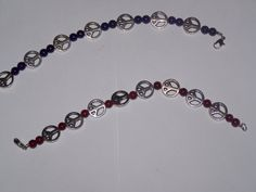Silver Peace Sign Bracelet with semi precious stones by SweetJDesigns, $8.50