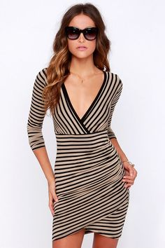 Pleasant Surplice Tan and Black Striped Long Sleeve Dress at Lulus.com!
