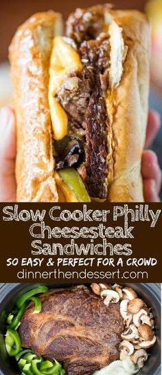 Slow Cooker Philly Cheese Steak Sandwiches is Tasty ! You must see the complete recipes. Slow Cooker Philly Cheese Steak Sandwiches is Tasty ! You must see the complete recipes. Crock Pot Recipes, Slow Cooker Recipes, Beef Recipes, Cooking Recipes, Crockpot Meals, Cooking Tips, Chicken Recipes, Recipes For A Crowd, Recipies