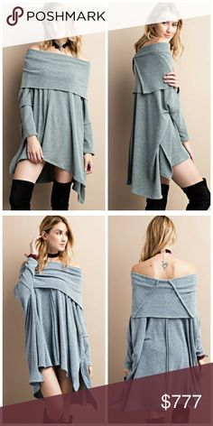 Arrives next week! Like to be notified! Soft, cozy two-tone cowl neck sweater features a super swing silhouette and an oversized, effortless design with 3/4 sleeves. Color is olive blue. Price: $45. Like to be notified when in! Unity Blend Sweaters Cowl & Turtlenecks