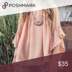 Beautiful Girls Boho Top Beautiful boho top for your little one. In the color peach. Perfect with torn up jeans, shorts or leggings. Shirts & Tops Blouses