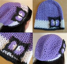 I love the butterfly on this crochet hat. Slouchy Butterfly Hat - Media - Crochet Me