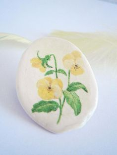 Yellow Pansy Brooch  Polymer Clay Flower  Viola Brooches