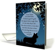 Pet Sympathy Corgi Vintage Silhouette Card for...   Greeting Card Universe by Rosemary Freeman