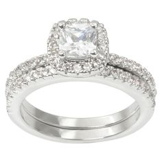 1 1/6 CT. T.W. Journee Collection Square Cut CZ Basket Set Halo Bridal Ring in Brass - Silver