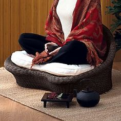 I would love this chair in my future meditation space. It's beautiful.    Gaiam Rattan Meditation Chair - Espresso finish.