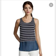 Navy and White Underlay Tank S NWT! Cleaning out my closet to prep for fall. Never worn. Casual Couture by Green Envelope Tops Tank Tops